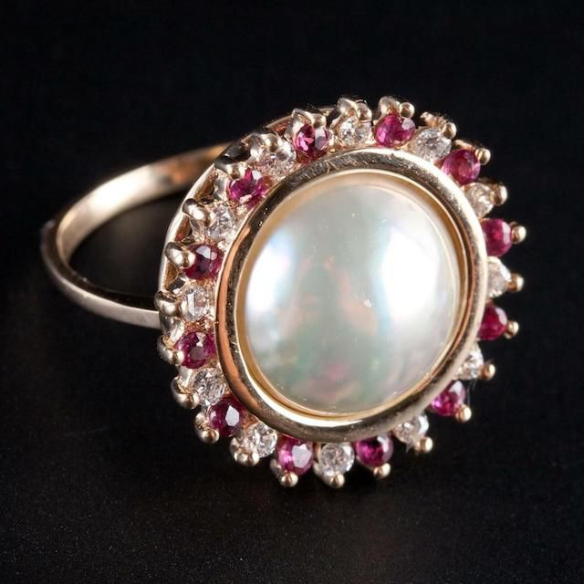 yellow gold Mabe Pearl, ruby and diamond ring