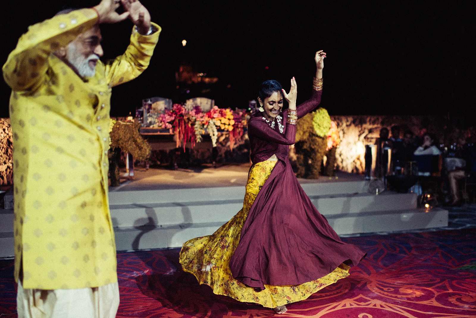 Couple dancing at Hindu wedding