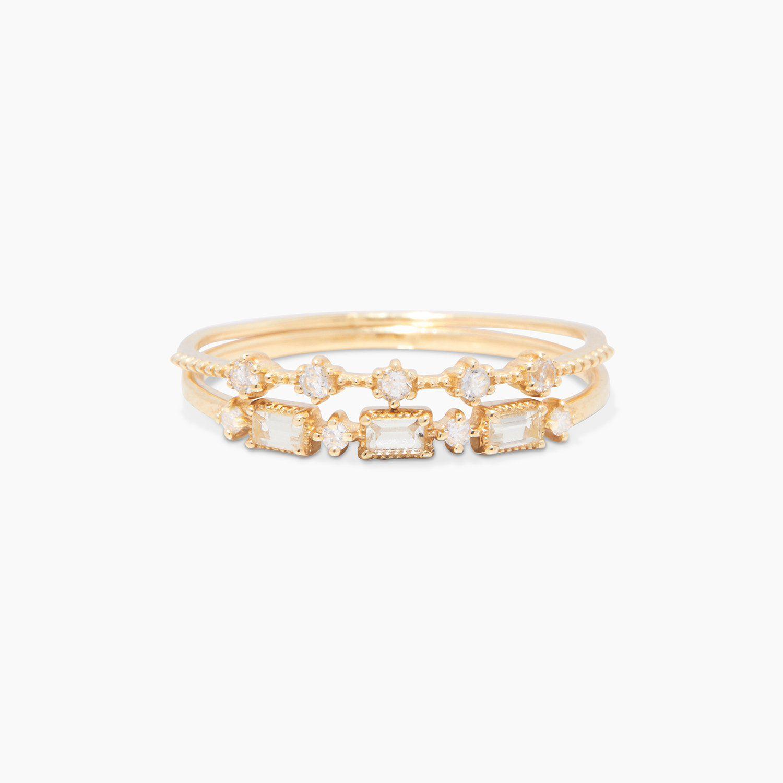 Diamond and White Topaz Ring Set