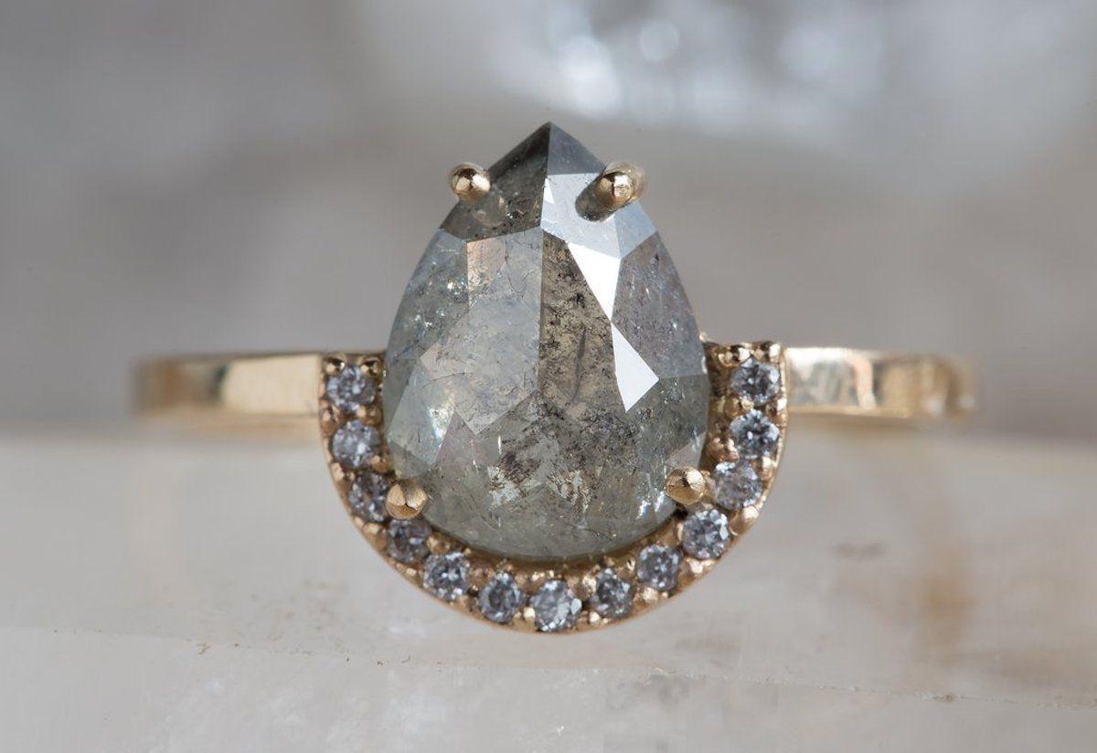 Alexis Russel Custom Natural Rose Cut Golden Green Diamond Ring