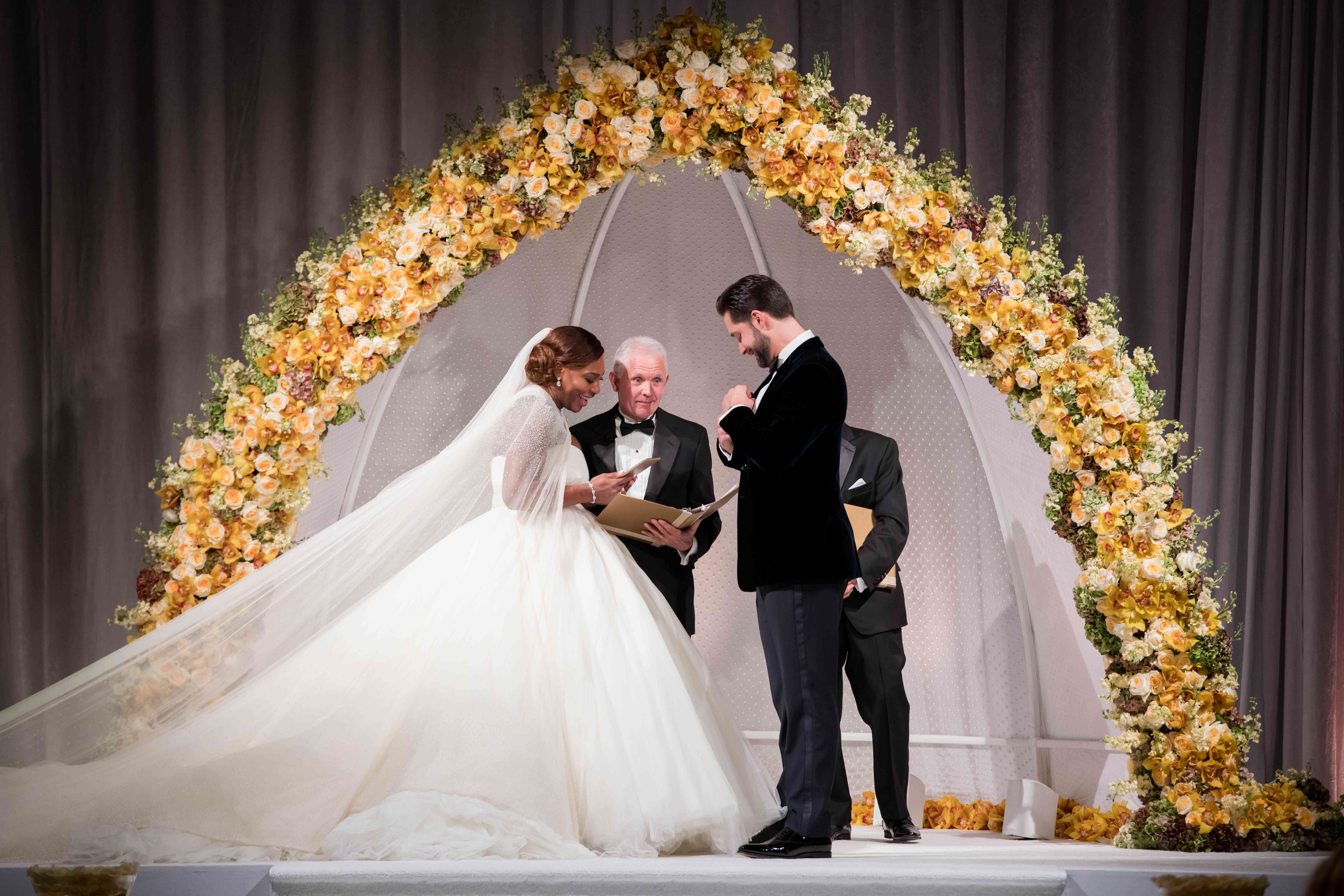 Bride (Serena Williams) and groom (Alexis Ohanian) at the wedding ceremony