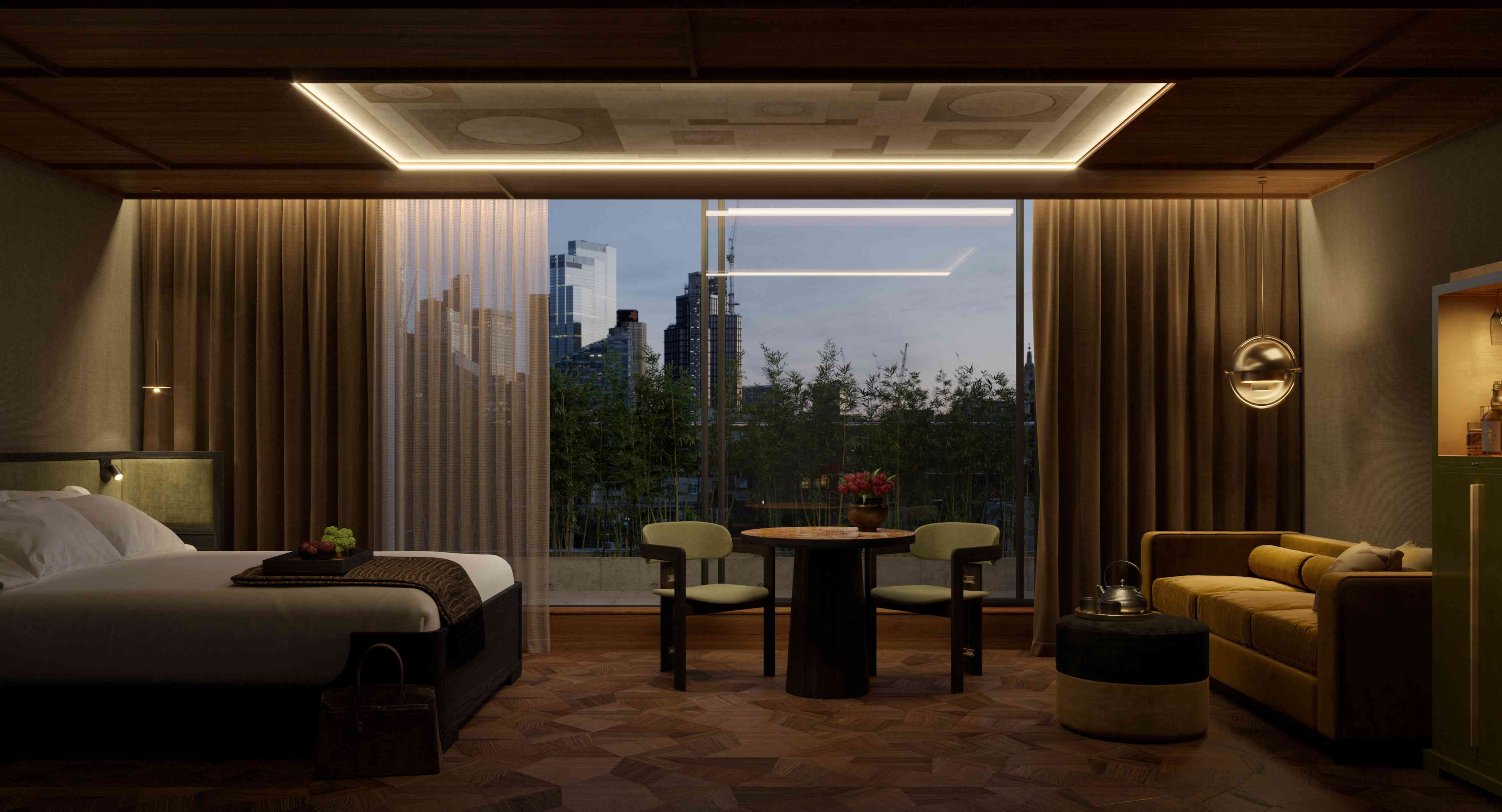 Penthouse bedroom at Nobu Shoreditch with views of London