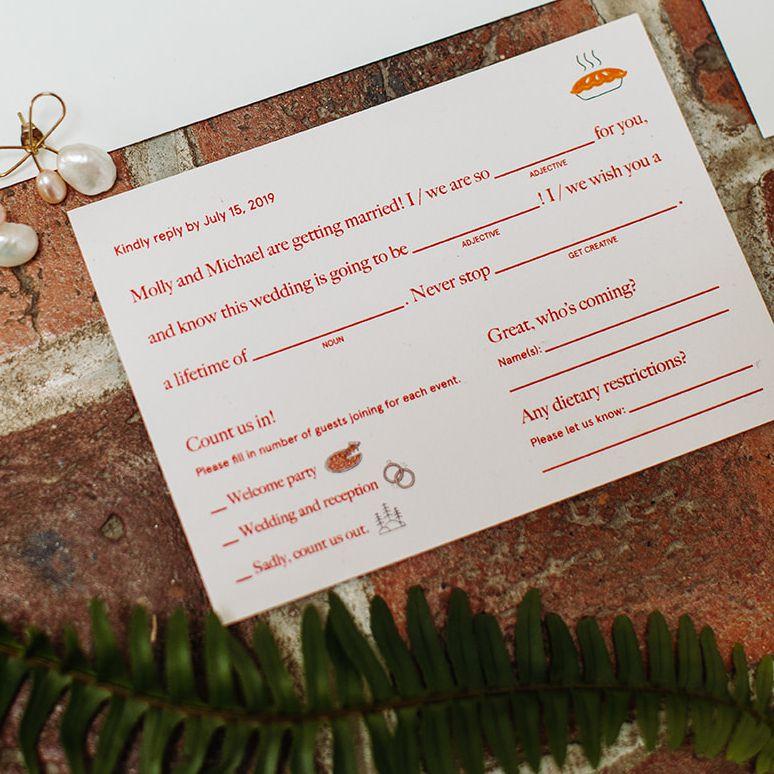 Mad Libs RSVP card for a wedding