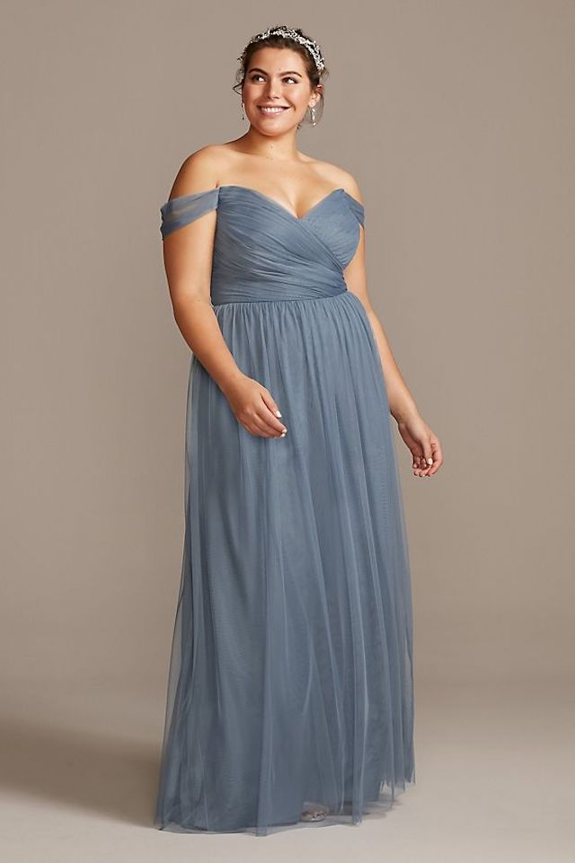 David's Bridal Off-the-Shoulder Pleated Soft Net Bridesmaid Dress, $149.95, on sale $69.99