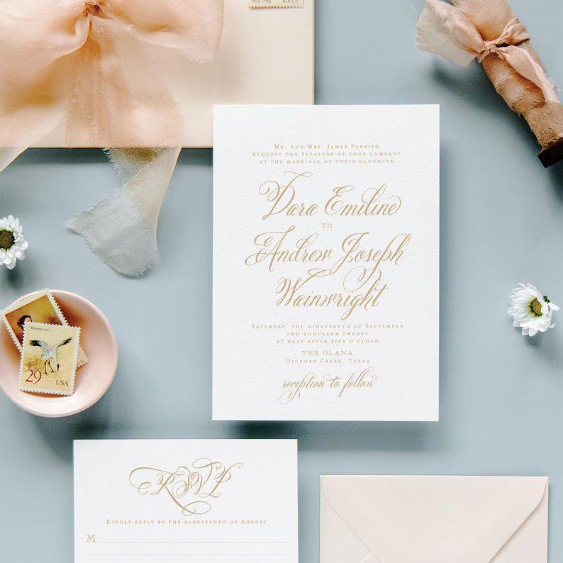 elegant calligraphy wedding invitation suite