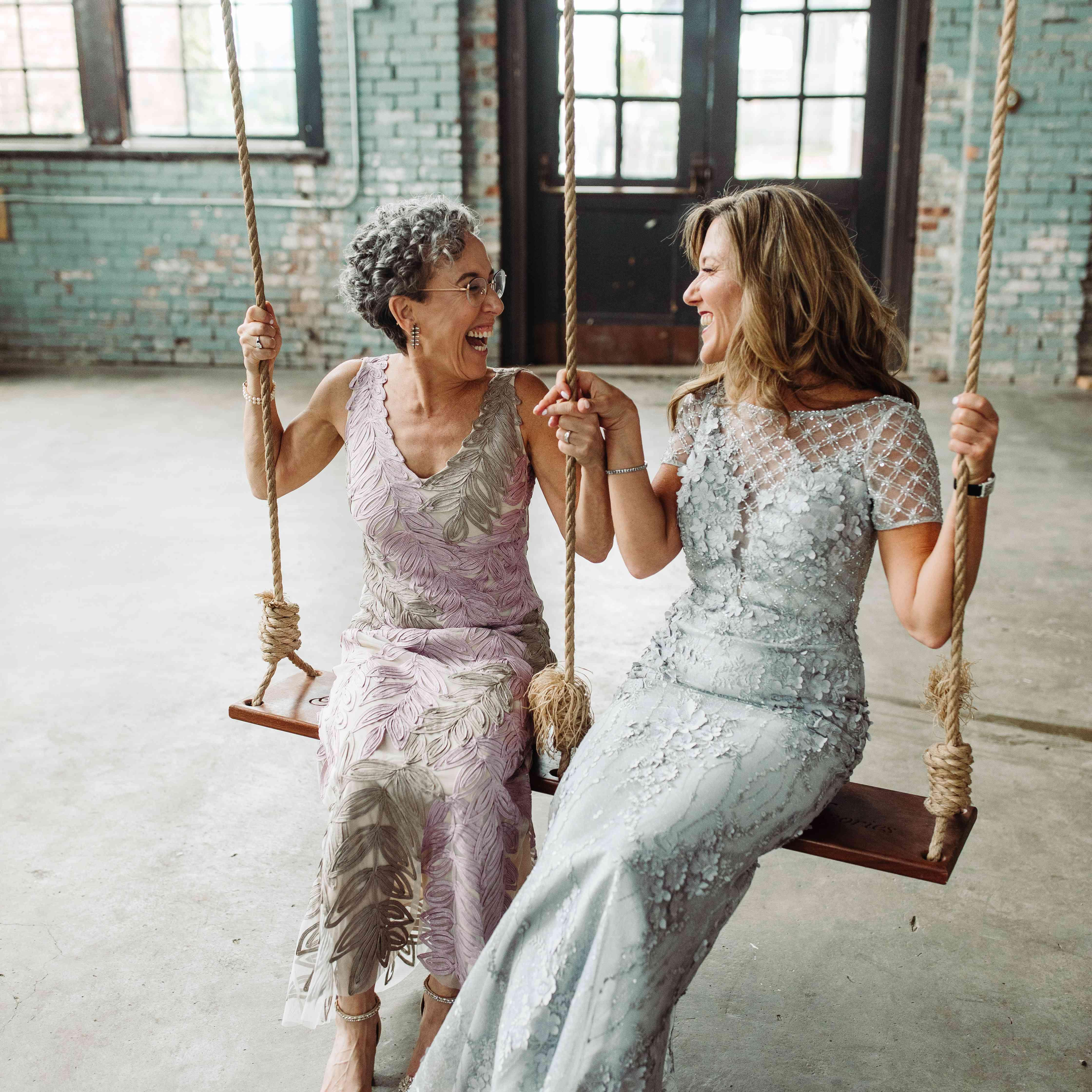mothers on swings