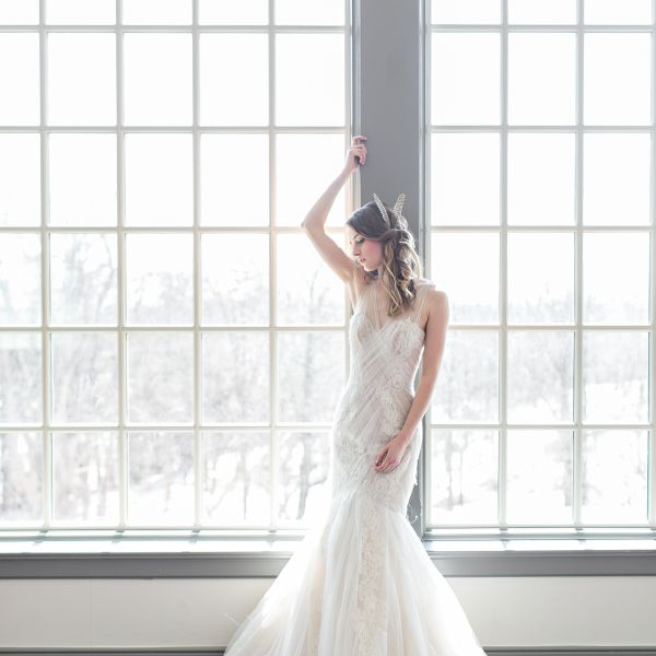Bride Posing in Wedding Dress
