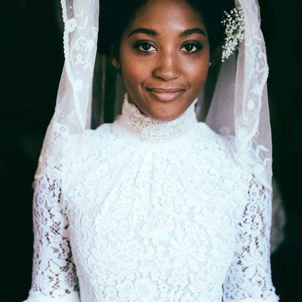 Bride in vintage dress and veil