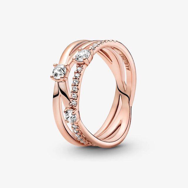 Pandora Sparkling Triple Band Ring
