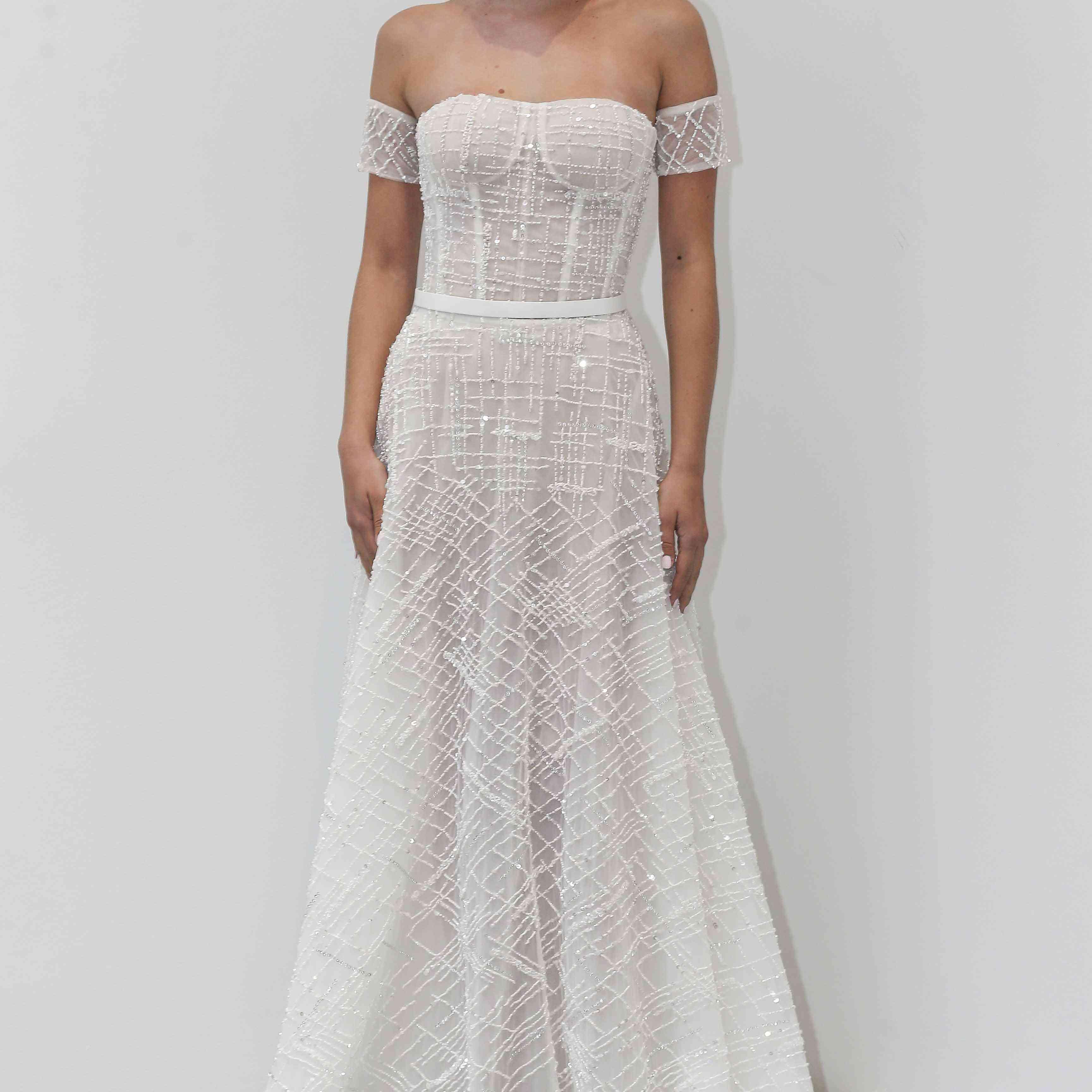 Chelsea off-the-shoulder wedding dress