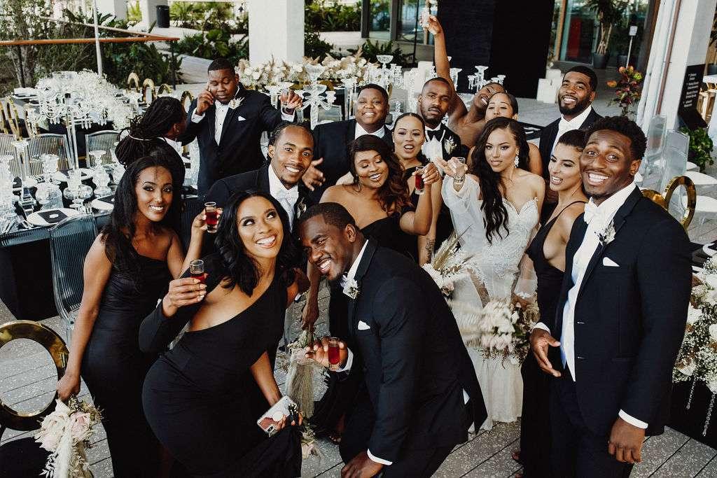 wedding party taking shots