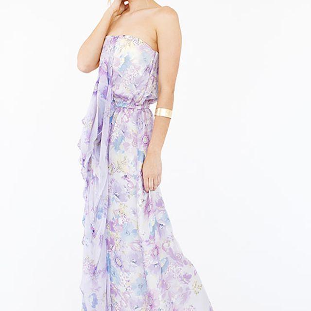purple floral bridesmaid dress