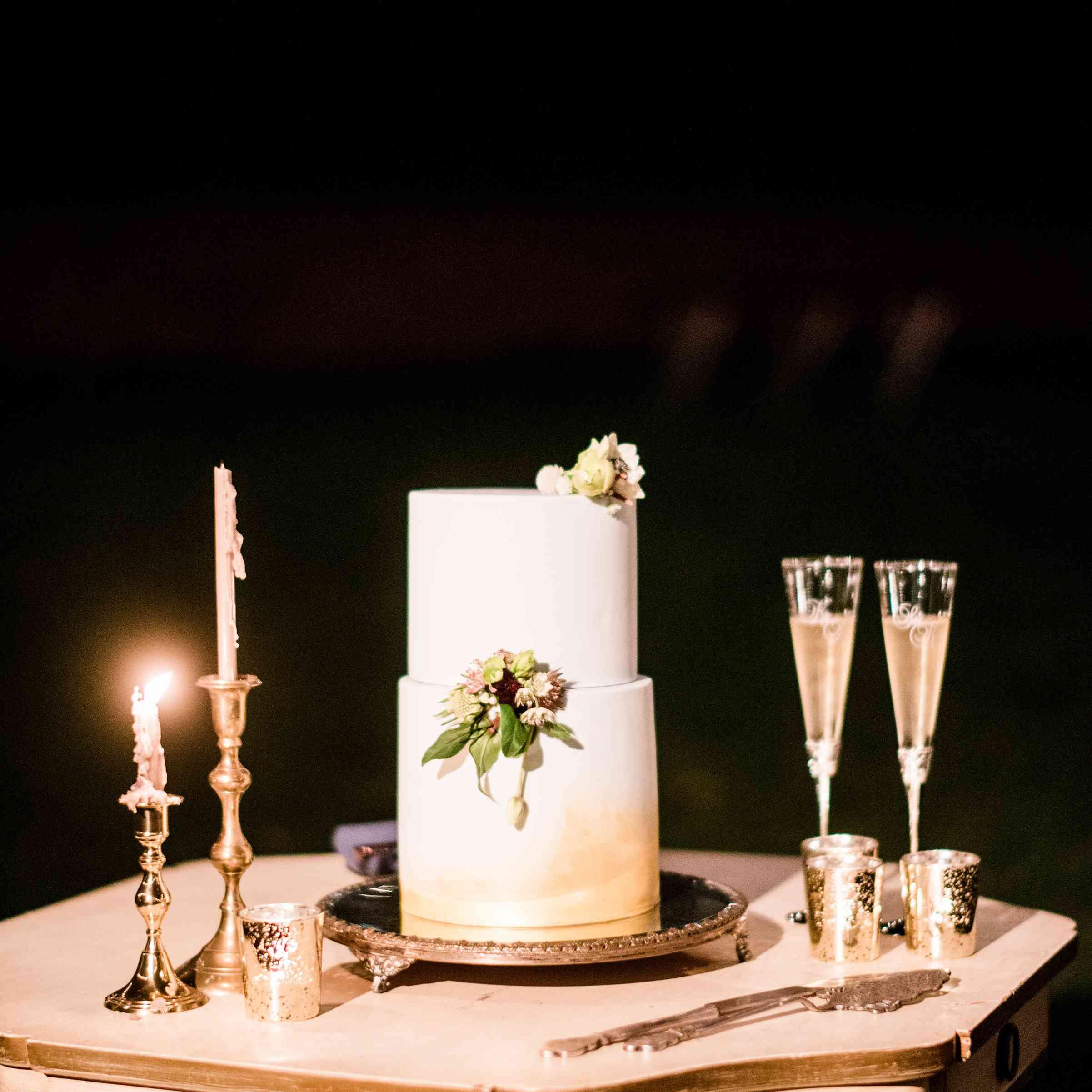 Two-Tiered White Wedding Cake