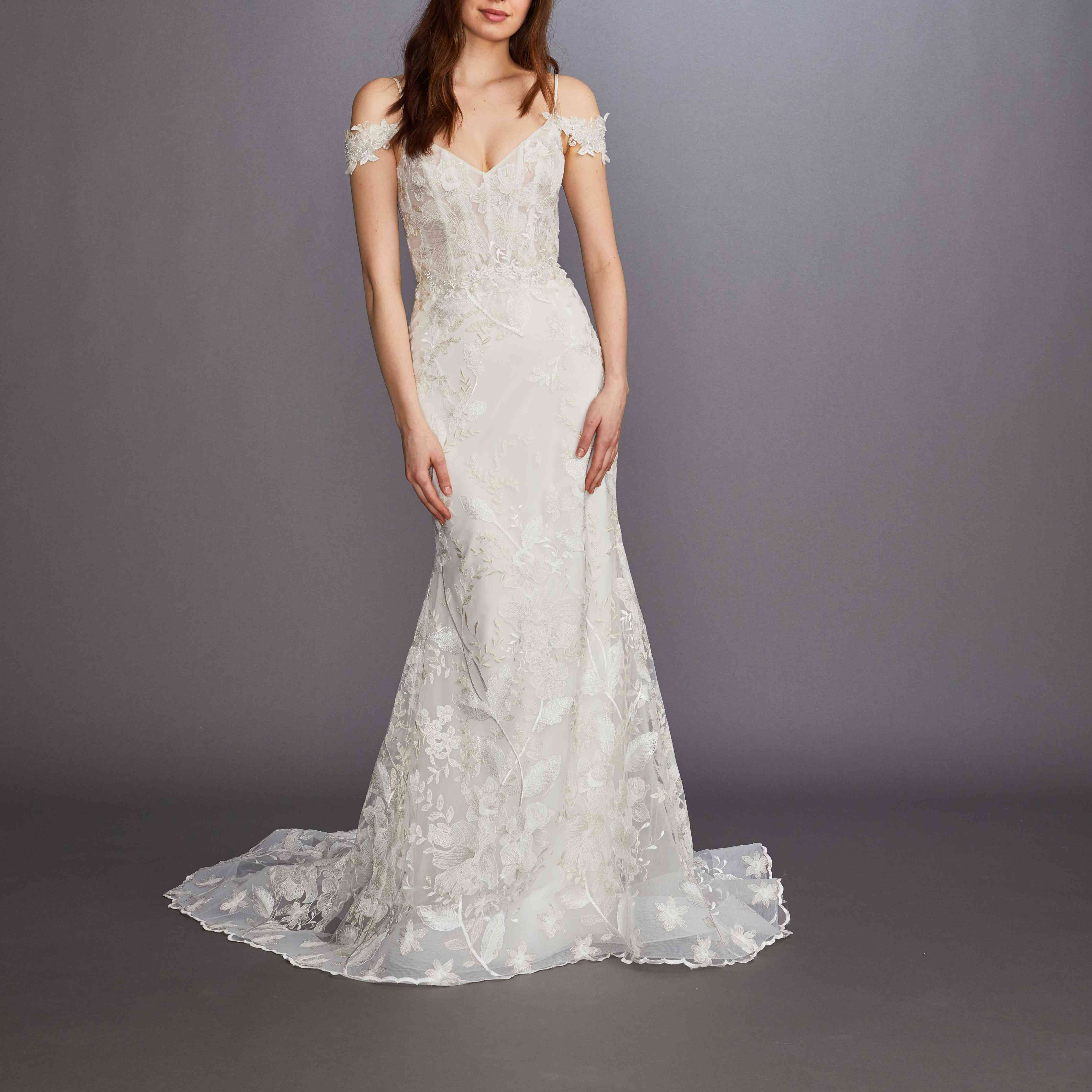 Juniper off-the-shoulder fit-and-flare wedding dress by Lazaro