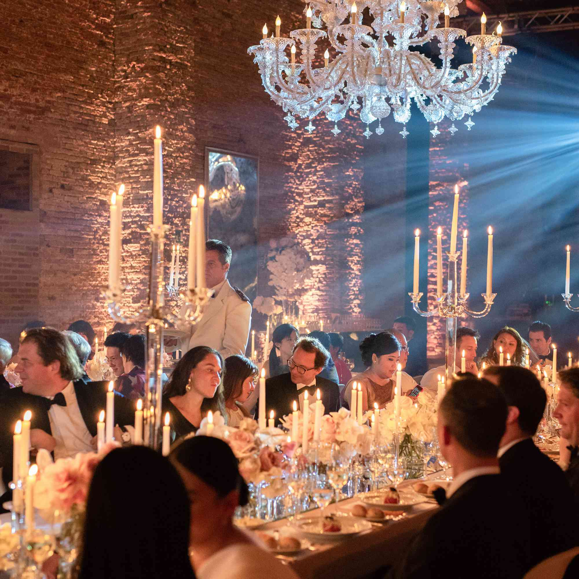 modern venice wedding, reception decor candlesticks