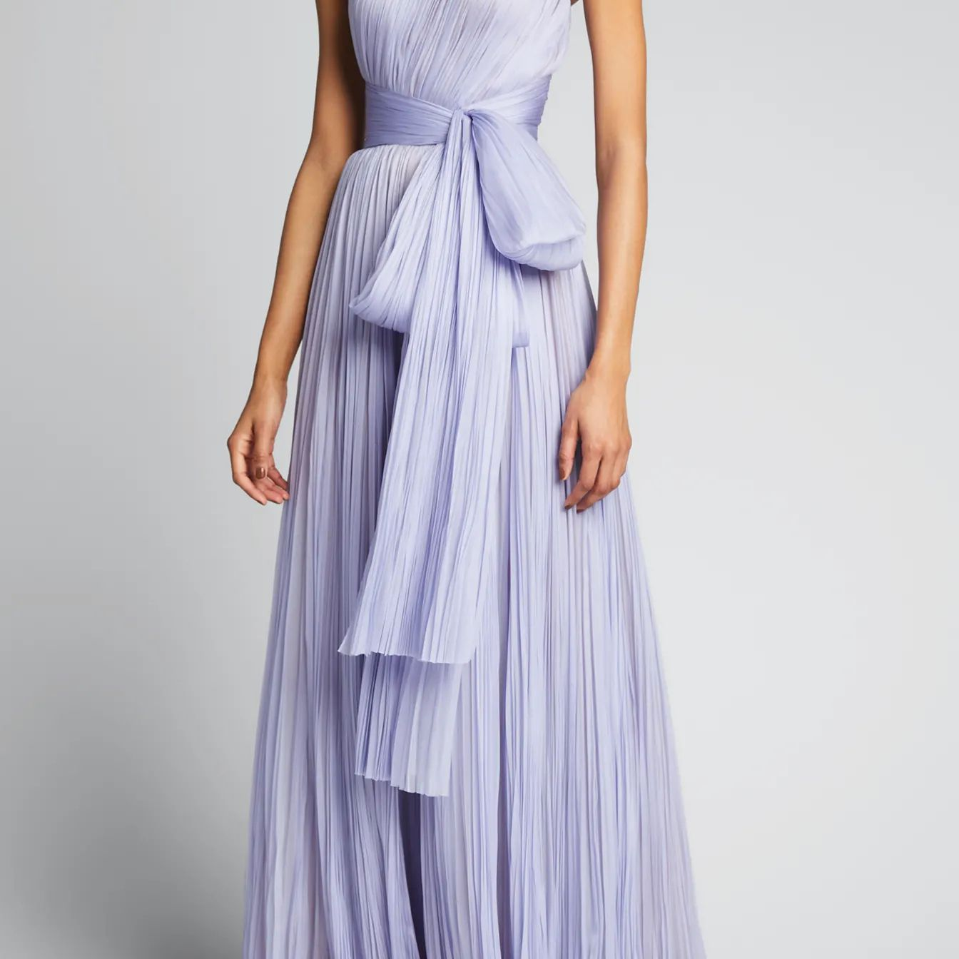 Pleated Bow Strapless Gown