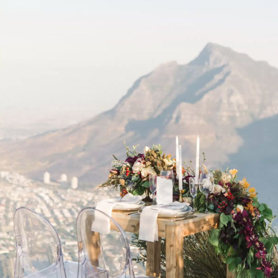 Sweetheart table with scenic outlook