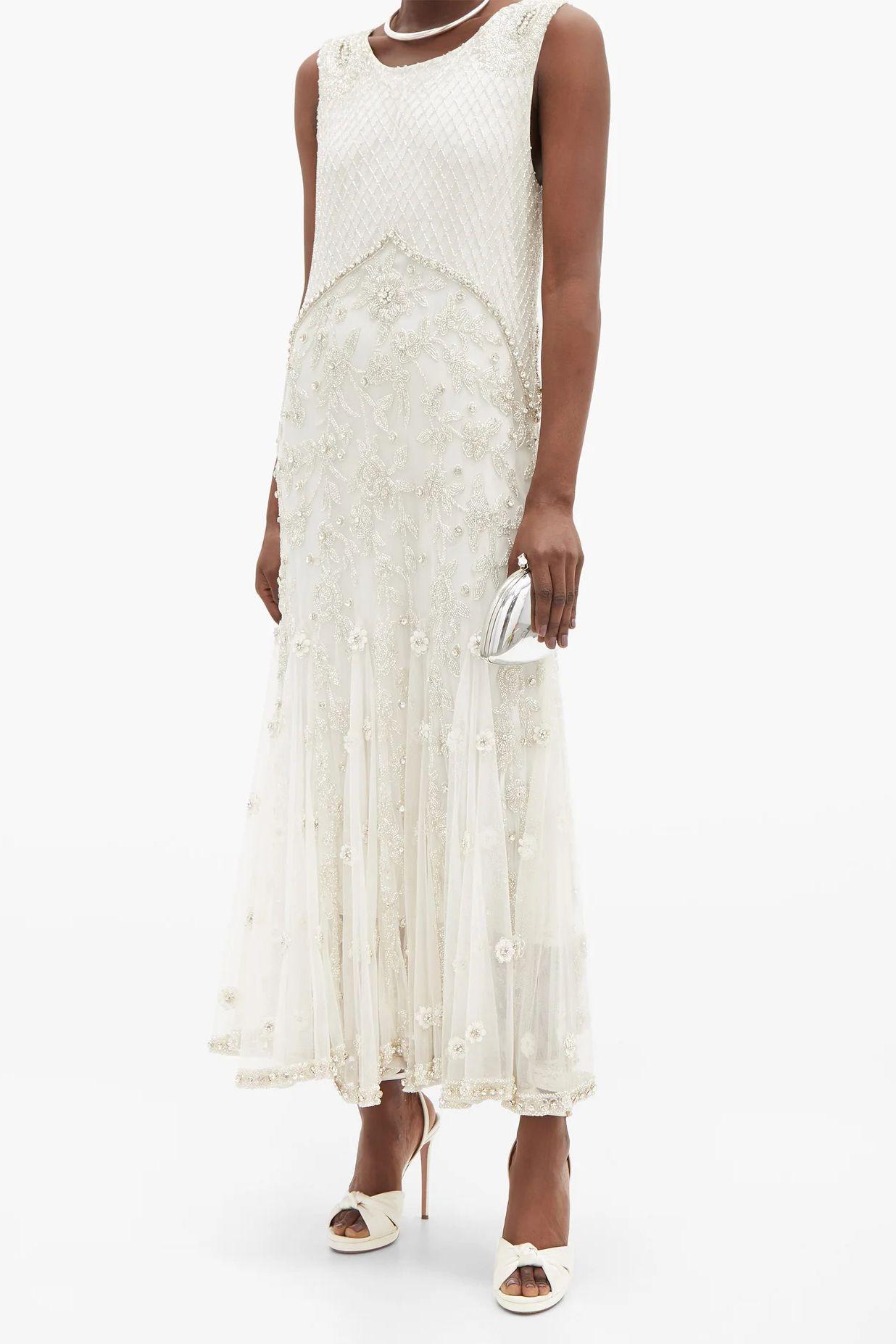 beaded shift dress