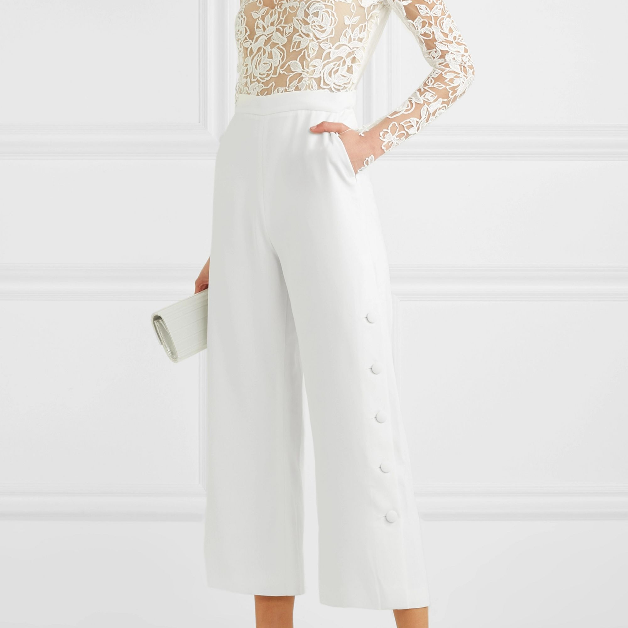 floral wedding satin bridal jumpsuit White wedding two-piece bridal jumpsuit and jacket with train modern crepe pantsuit wedding style