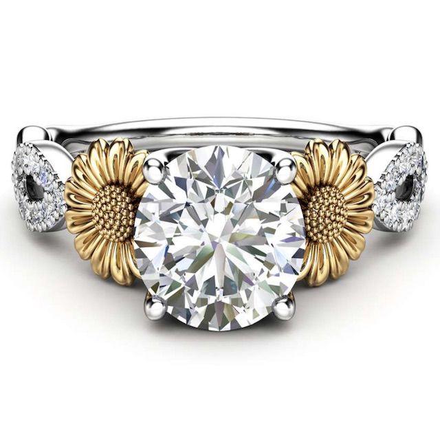 Camellia Sunflower Ring 14K White and Yellow Gold Moissanite Ring