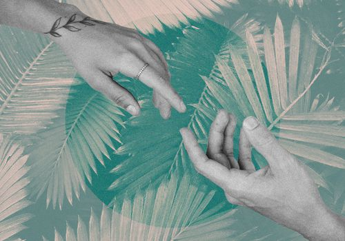 hands reaching out on collage