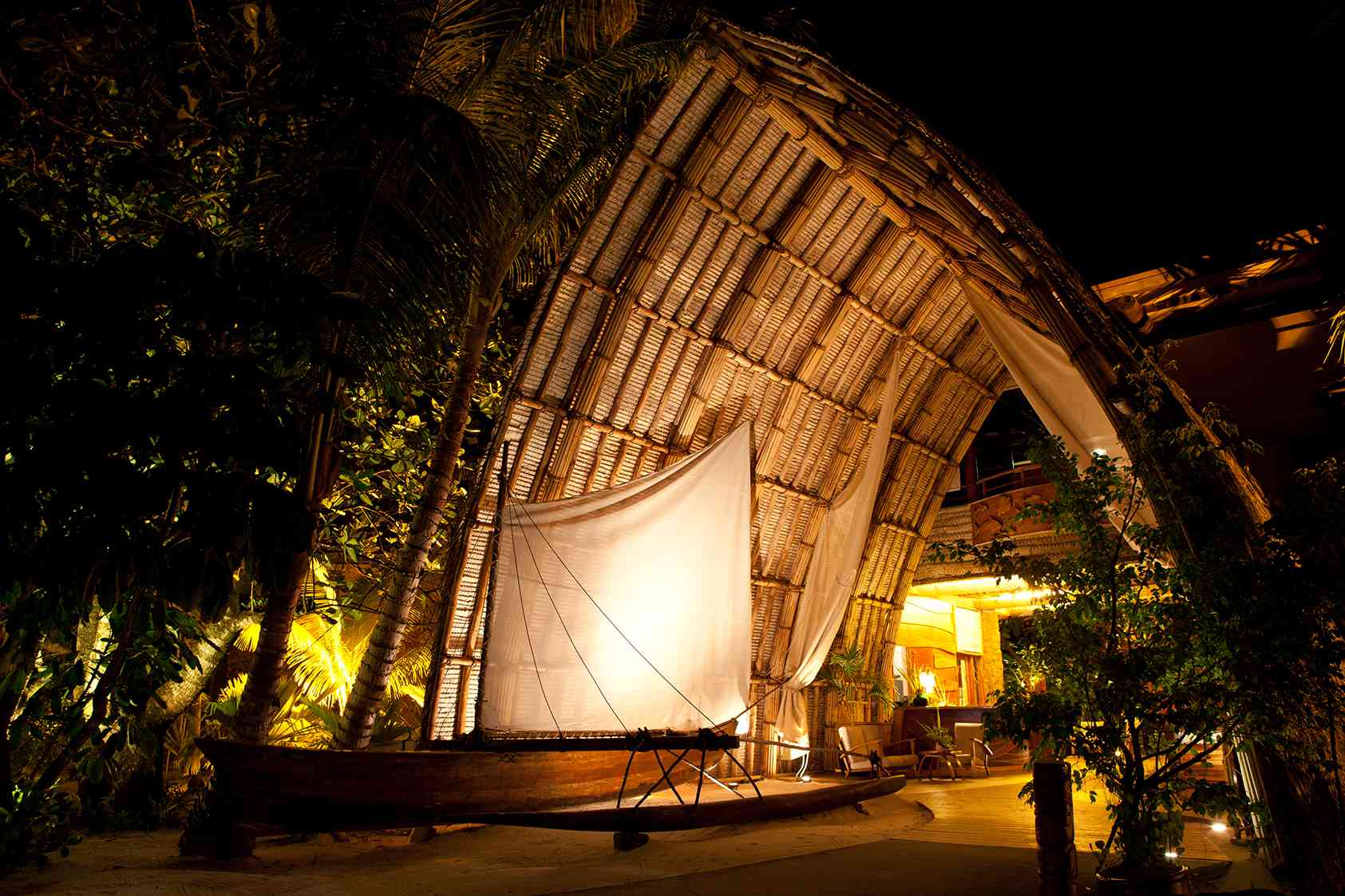 A movie screening at Le Taha'a Island Resort & Spa, French Polynesia
