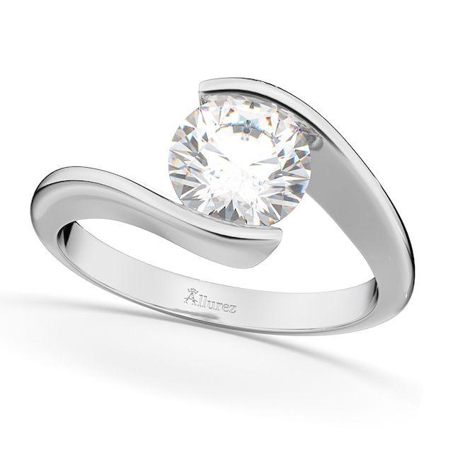 Allurez Tension Set Diamond Engagement Ring