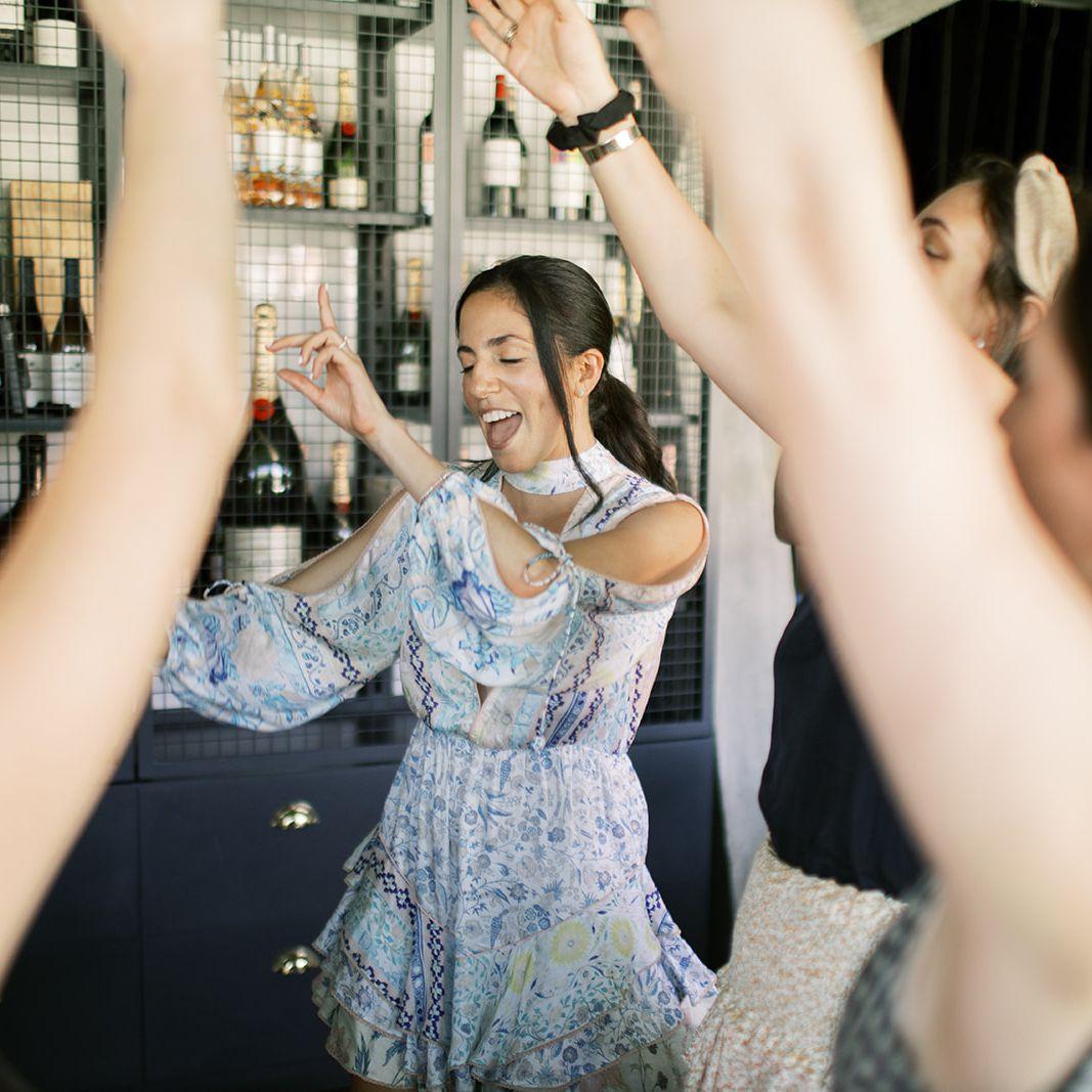 Woman in a dress dancing