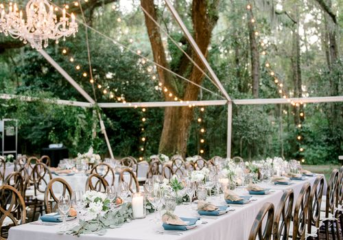 Backyard tent reception
