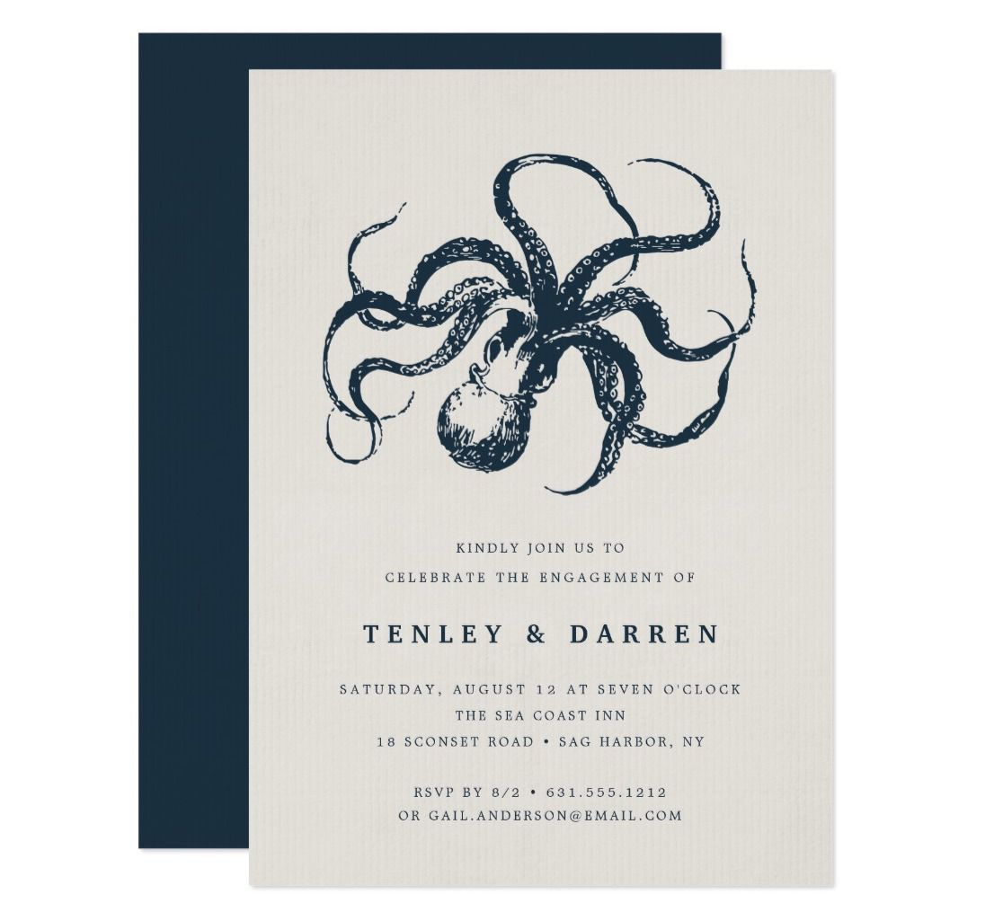 Blue octopus engagement party invitation