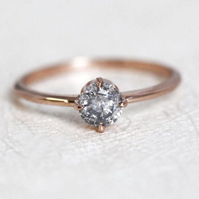 Capucinne Rustic Diamond Engagement Ring, Natural Diamond Ring with Galaxy Salt Pepper Diamond