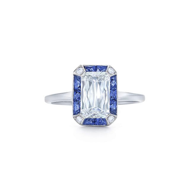 Diamond Engagement Ring with Sapphire and Diamond Ray Halo
