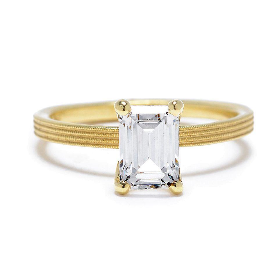 Emerald-Cut Diamond Engagement Ring with Fern Finish