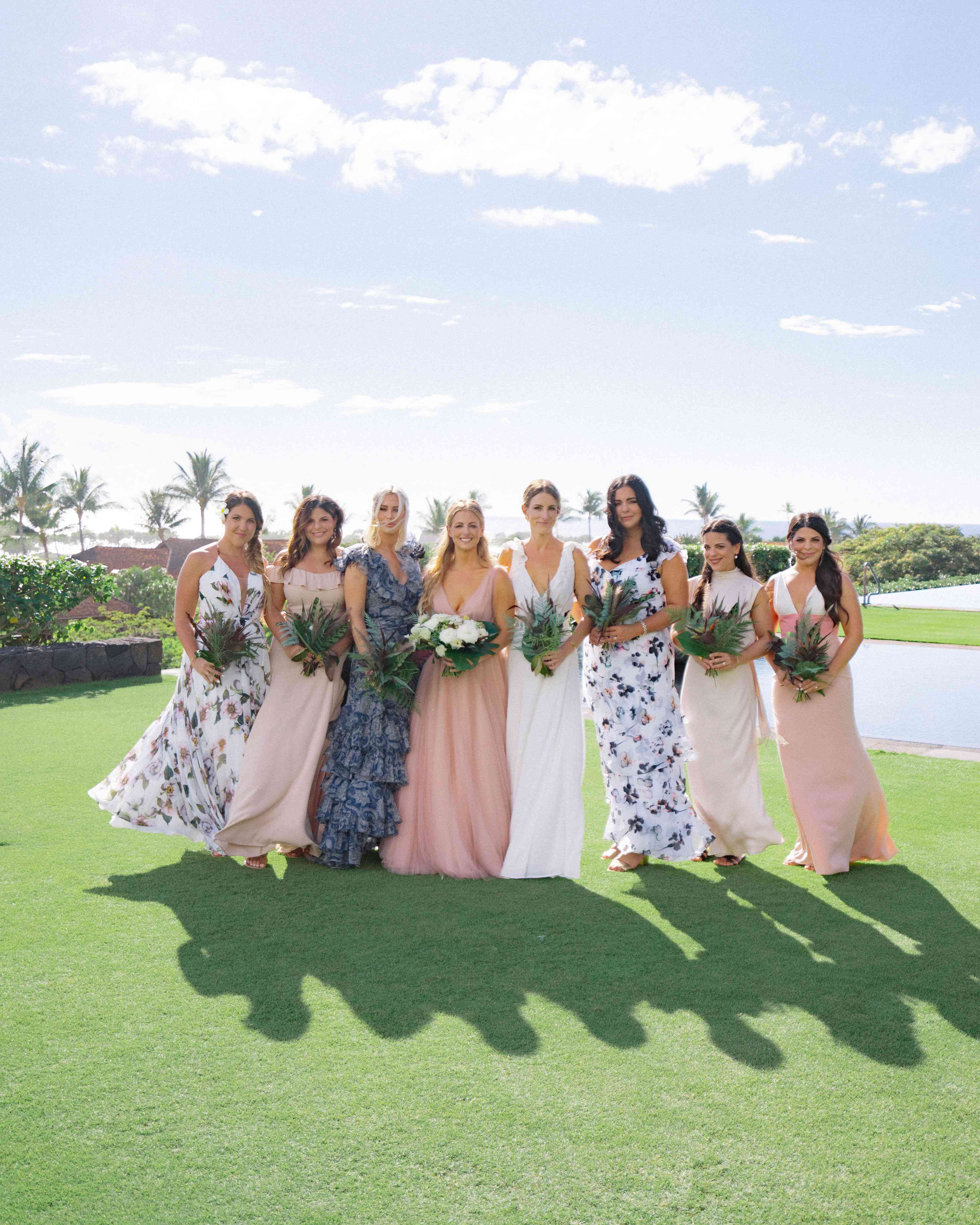 Portrait of the bride and her bridesmaids