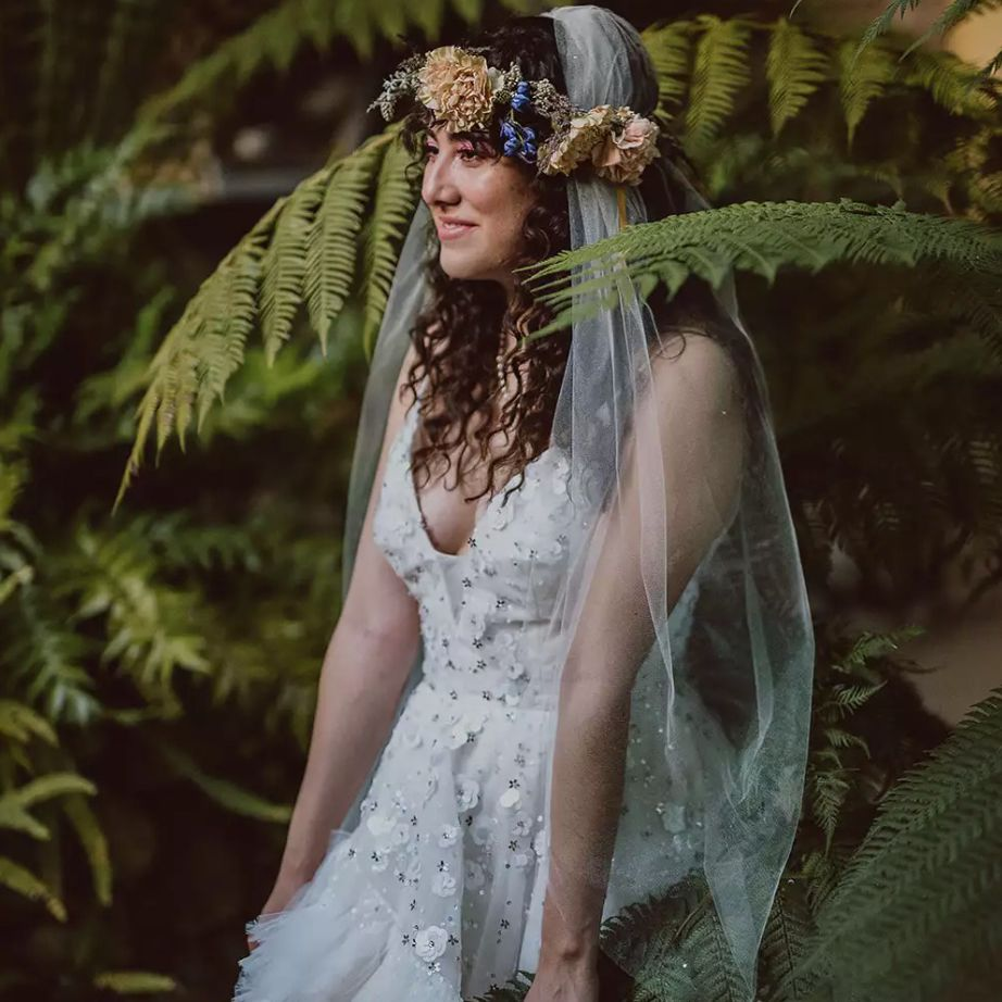 Bride with flower crown and veil