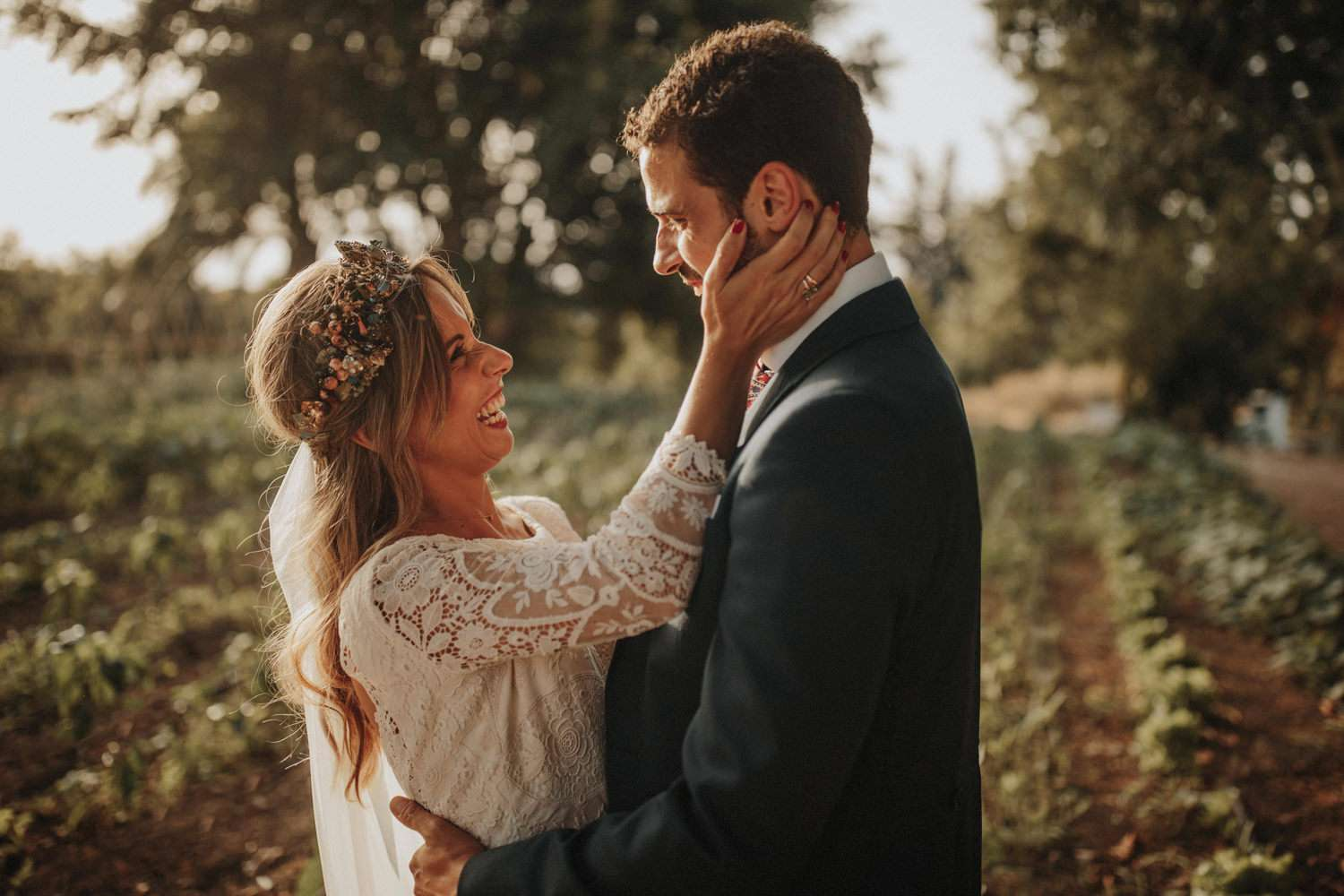 Bride and groom in embrace