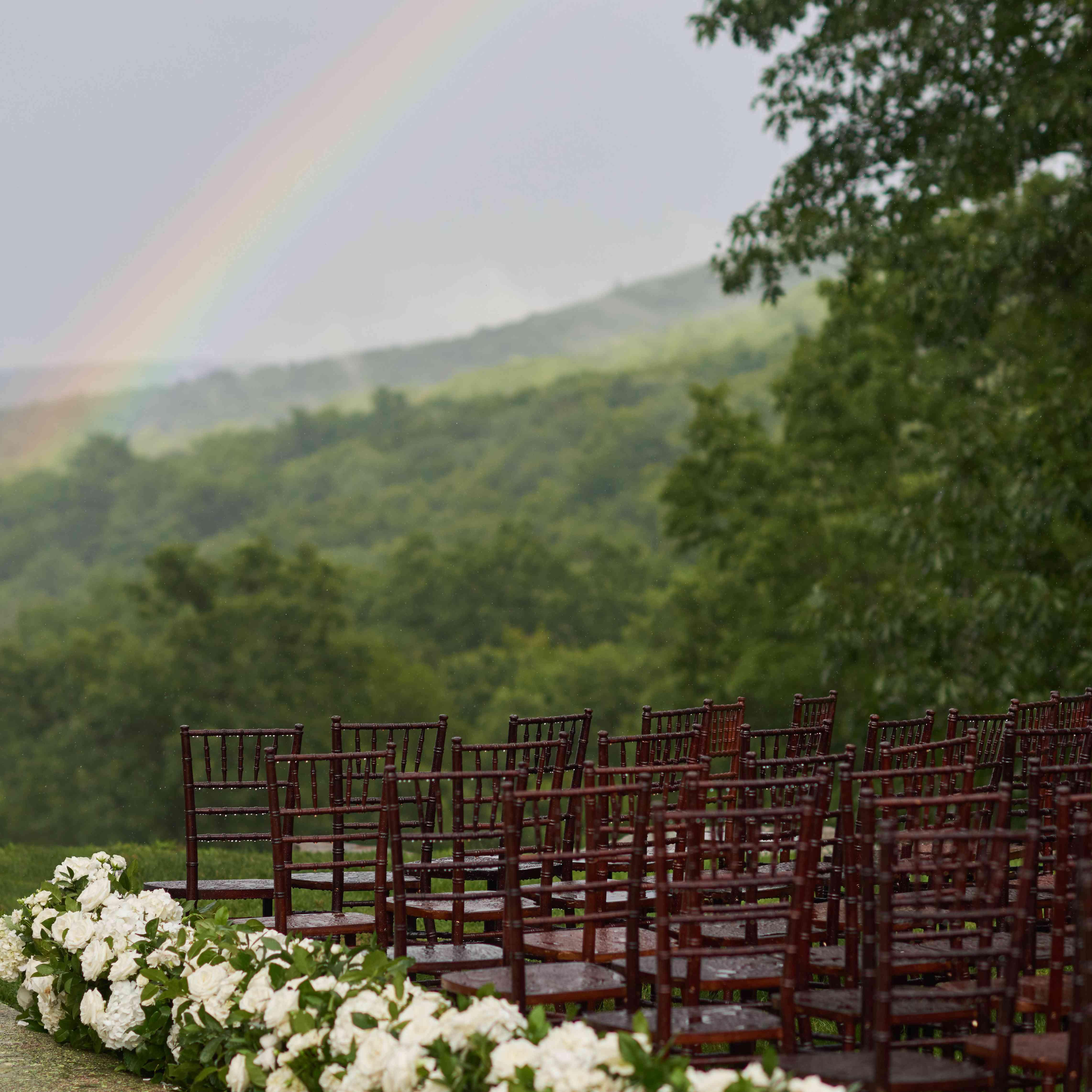 rainbow over ceremony