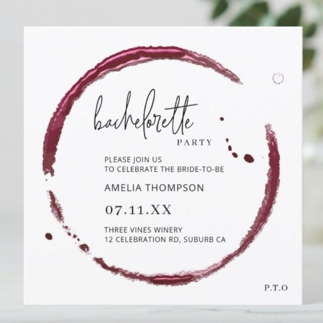 Zazzle Red Wine Tasting Weekend Bachelorette Party Invitations