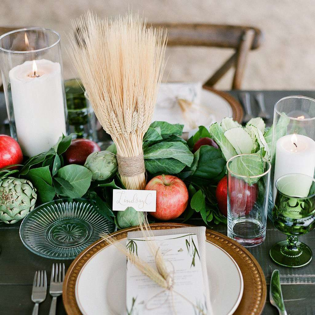apples and greenery centerpiece