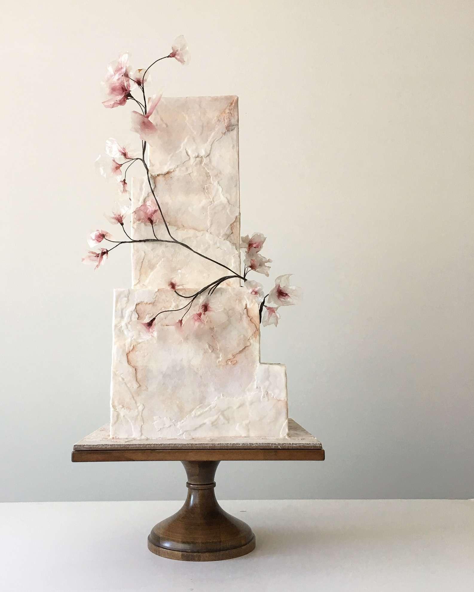 square cherry blossom cake