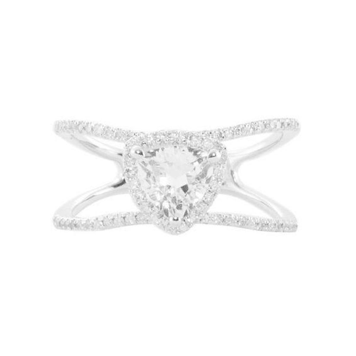 Luna Skye Gold and Diamond Double Band Topaz Trillion Ring