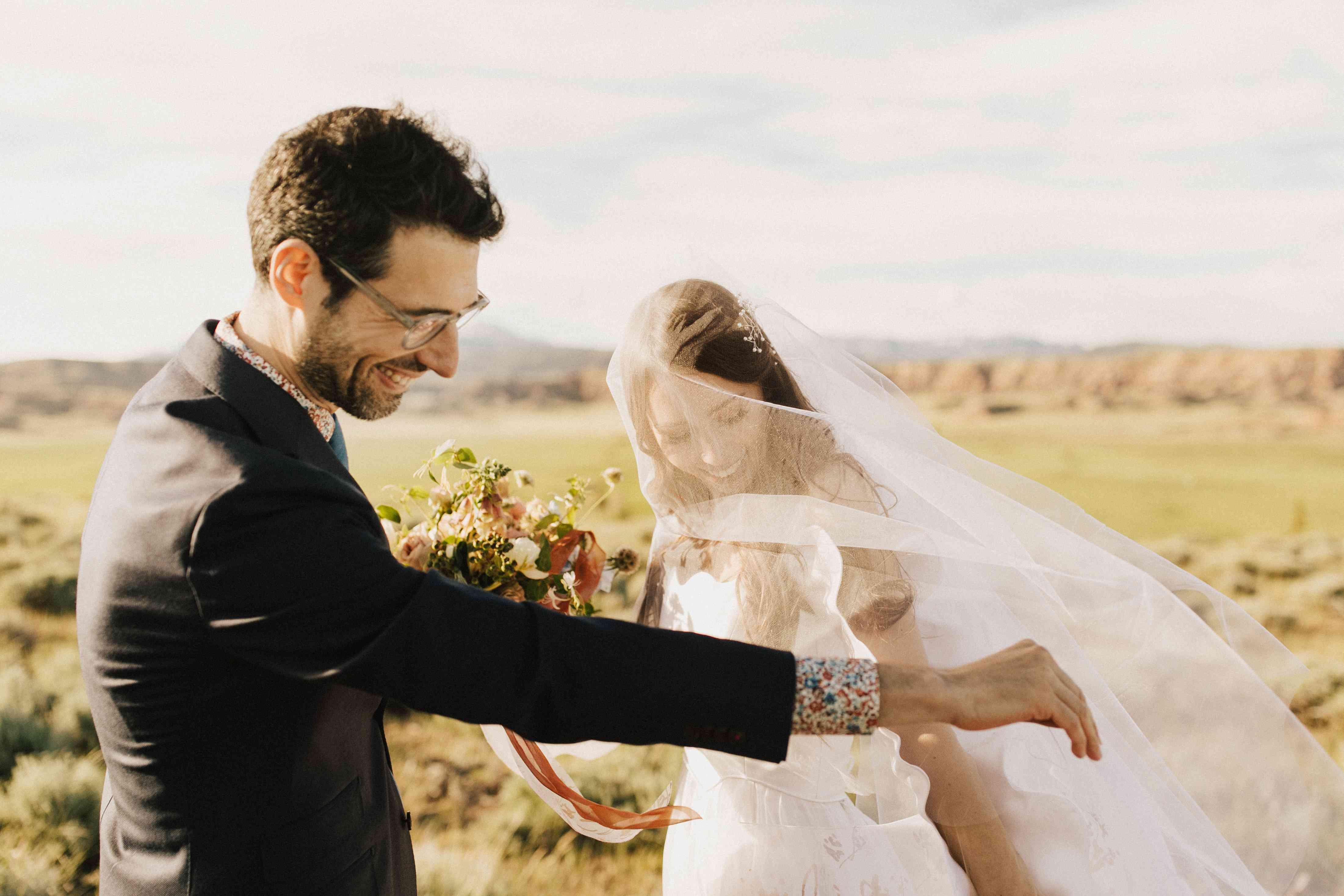 windy wedding veil blowing