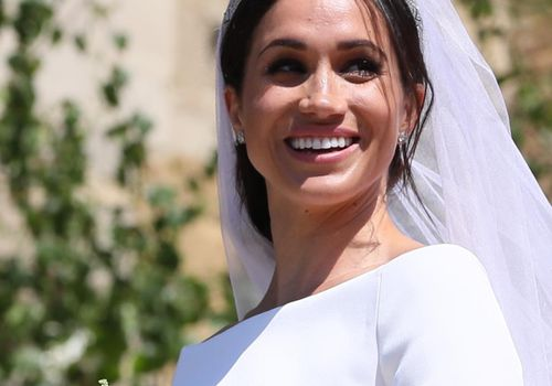 Meghan Markle in wedding gown and veil