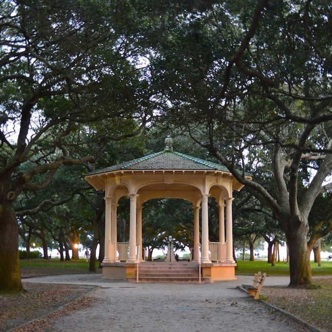 In Charleston's Battery you'll find White Point Garden , filled with historic statues and canons, and the most picture-perfect gazebo nestled in oak trees for your intimate southern wedding. Though your guest list may be small — the space only allows for 25 people — you may be joined by a few extras. The area was a popular spot to hang pirates in the 18th century, given its waterfront location, and many residents have spotted the sailors roaming the grounds looking for their executioners