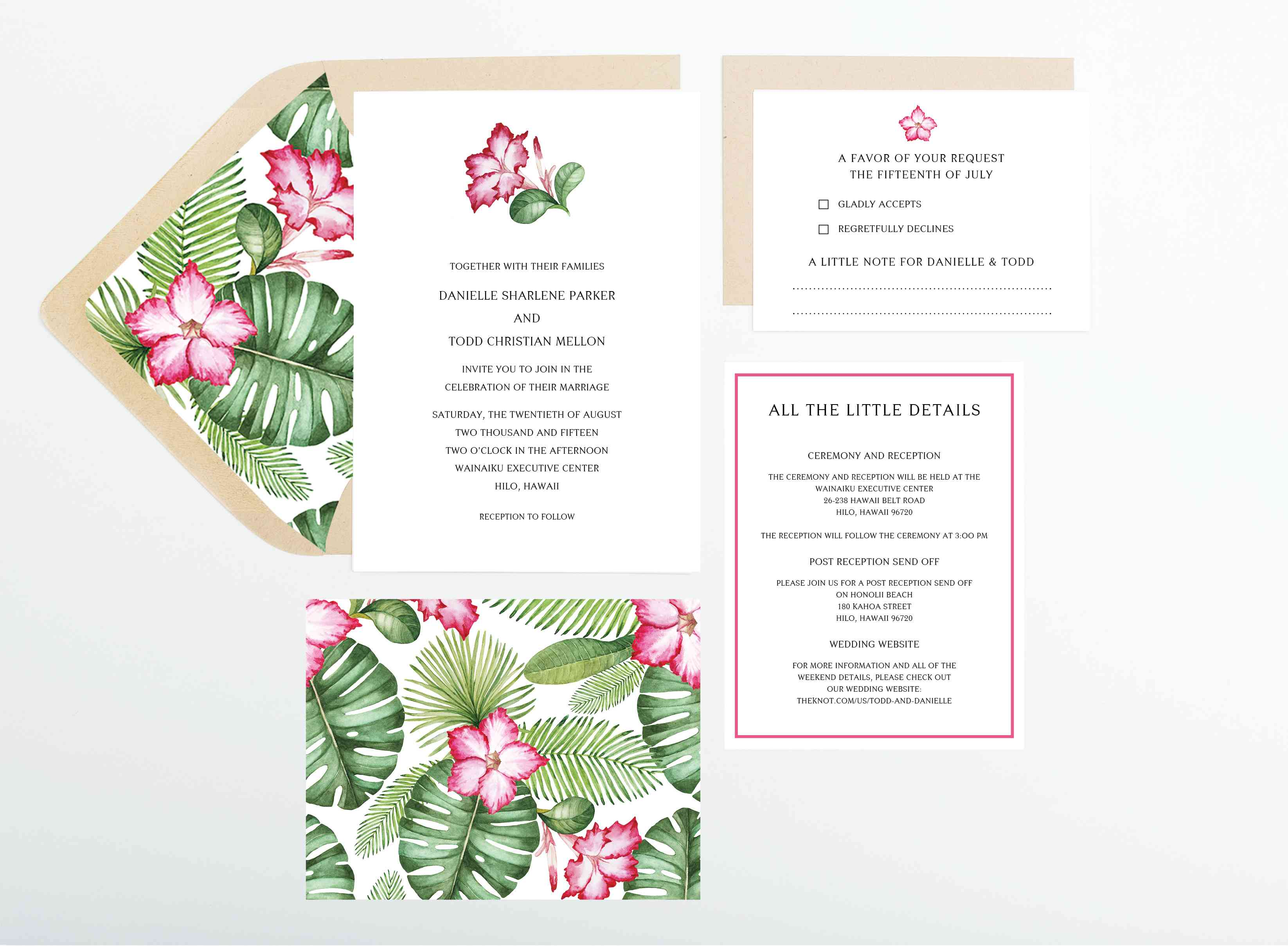 Green palm leaves and pink flowers wedding invitations