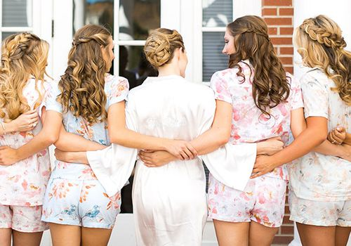 Bride with four bridesmaids from behind
