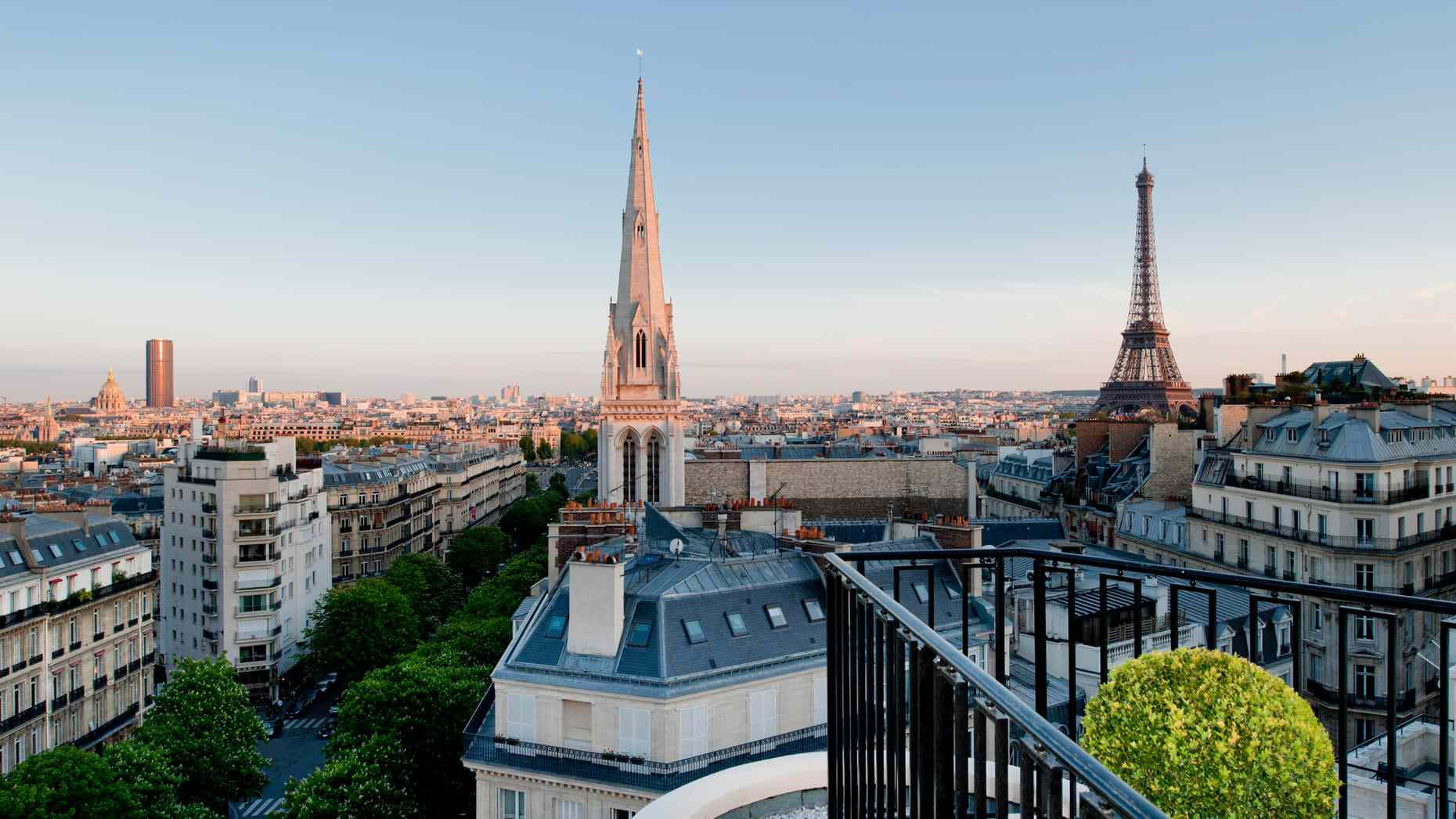 View from hotel of Eiffel Tower and surrounding cityscape