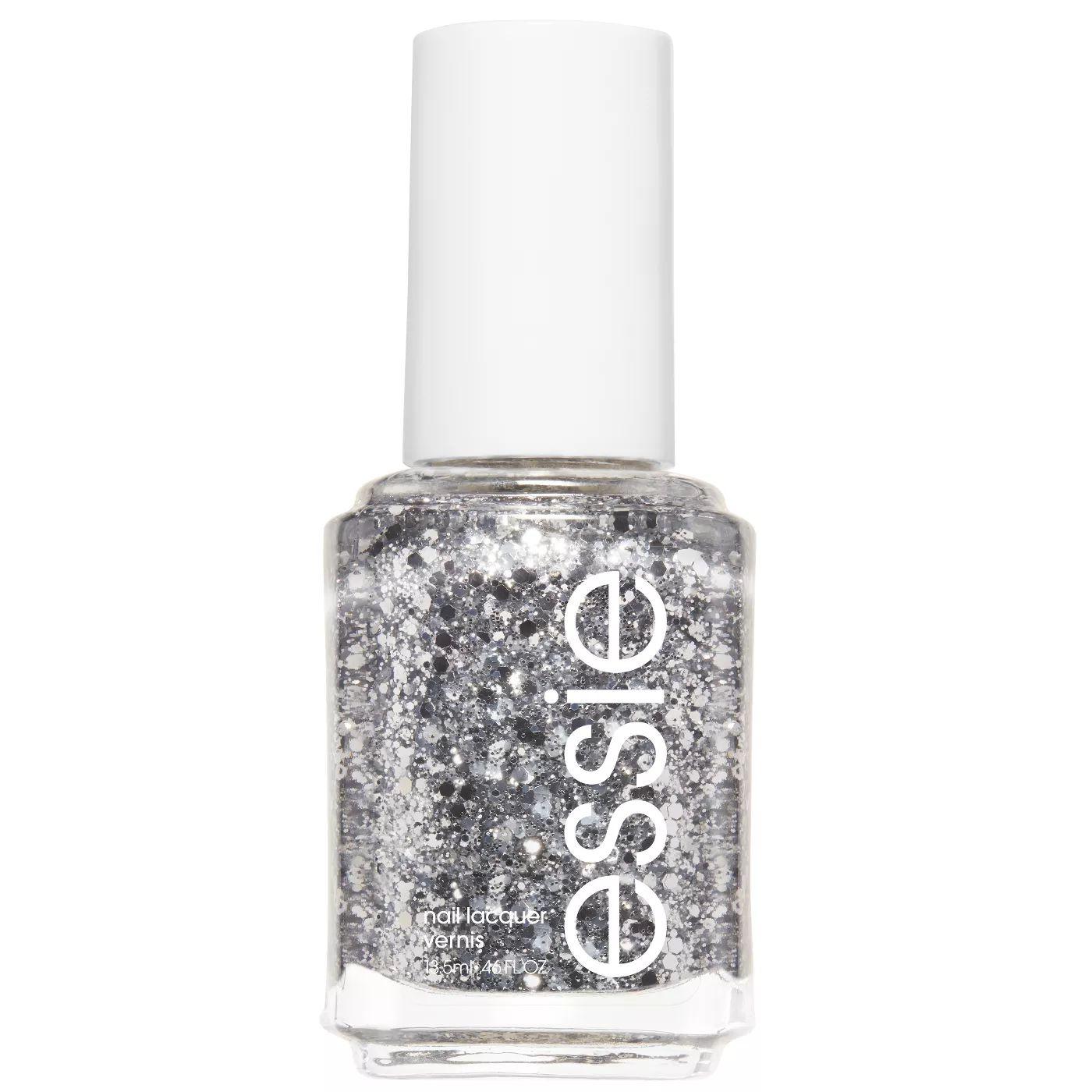 Essie Set in Stones polish, a glittery silver shade
