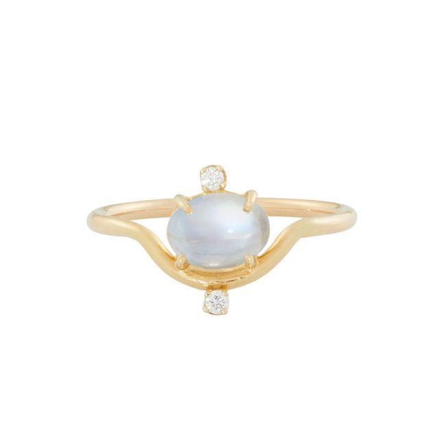 Catbird Nestled Moonstone & Diamond Ring