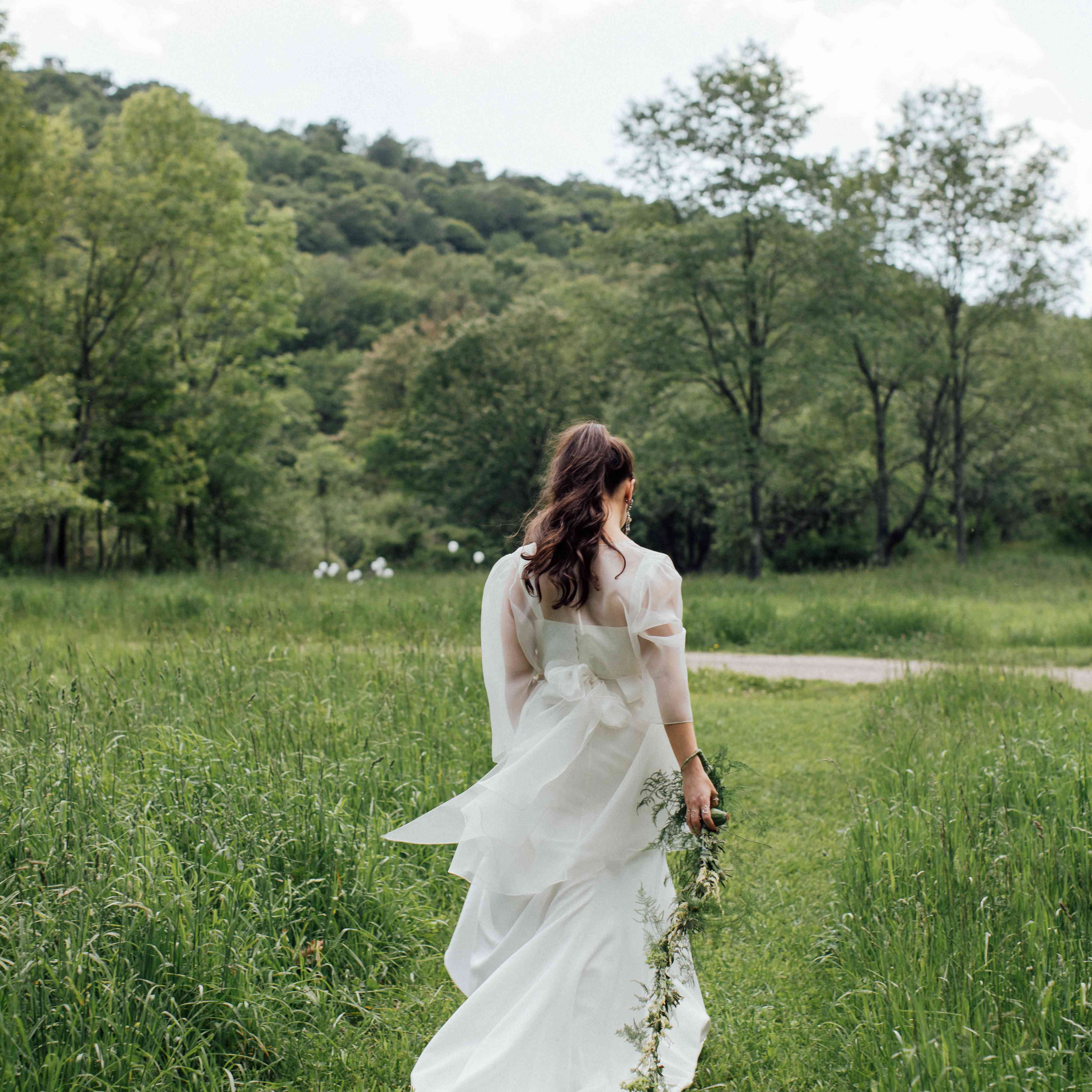 Solo bride shot from behind